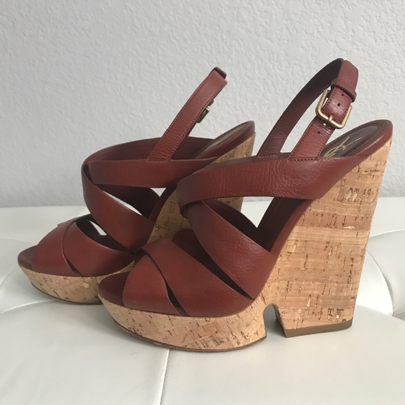 Yves Saint Laurent Shoes - Yves Saint Laurent Leather Cork Wedges 2b1a3a07fc